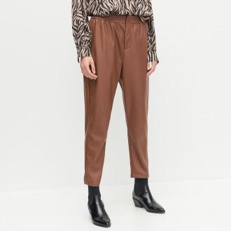 Reserved - Spodnie z imitacji skóry - Brązowy
