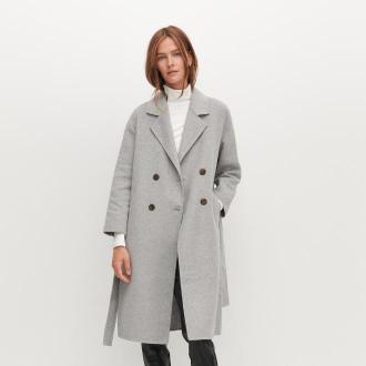 Reserved - Płaszcz handmade z wełną - Jasny szary