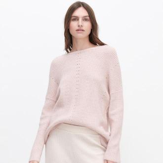 Reserved - Sweter z ażurowym wzorem - Różowy