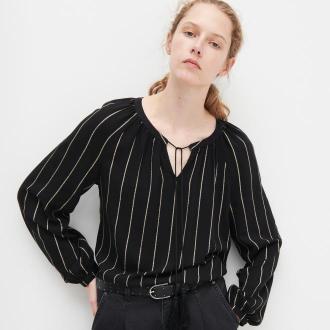 Reserved - Bluzka z ozdobnym wiązaniem - Czarny