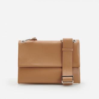 Reserved - Skórzana torebka w minimalistycznym stylu - Beżowy