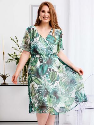 Sukienka w kwiaty szyfonowa DENISA odcinana kopertowa ecru w zielony bluszcz PROMOCJA
