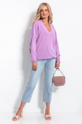 Wełniany Sweter V neck - Fioletowy