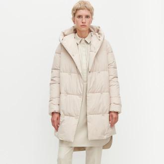 Reserved - Pikowany płaszcz - Kremowy