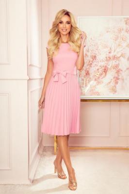 Elegancka Sukienka z Plisowanym Dołem - Różowa