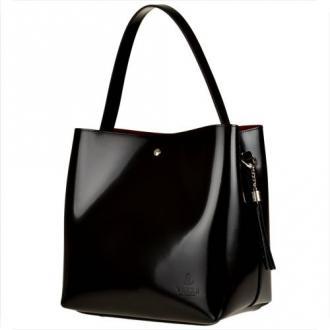 Vezze torebka czarna lakierkowa skórzana