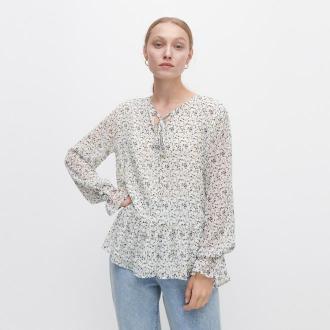 Reserved - Wzorzysta bluzka z falbanami - Wielobarwny