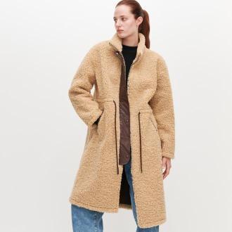 Reserved - Płaszcz  ze sztucznego baranka - Beżowy