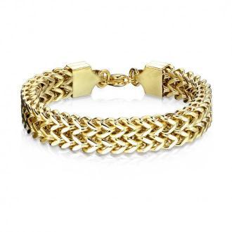 Stalowa bransoletka złotego koloru - ukośne okrągłe oczka w dwóch rzędach, karabińczyk, 12 mm - Długość : 230 mm