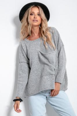Wełniany Gładki Sweter z Kieszenią - Szary