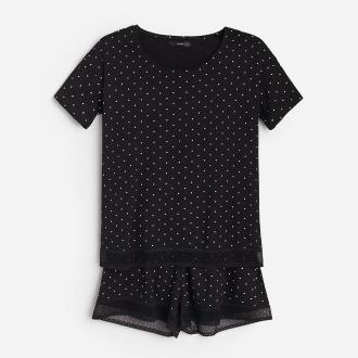 Reserved - Piżama z szortami w kropki - Czarny