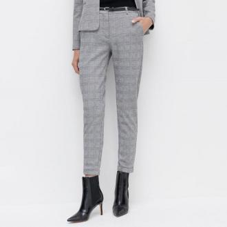 Reserved - Spodnie w kratę z paskiem - Szary