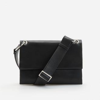 Reserved - Skórzana torebka w minimalistycznym stylu - Czarny