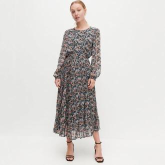 Reserved - Wzorzysta sukienka z plisowanym dołem - Wielobarwny
