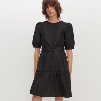 Reserved - Popelinowa sukienka z paskiem - Czarny