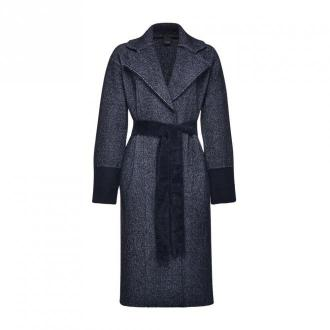 Pinko Żakardowe Płaszcz Korea Płaszcze Niebieski Dorośli Kobiety