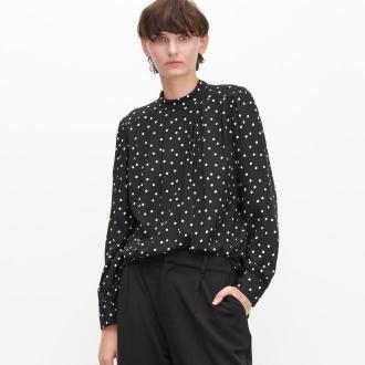 Reserved - Bluzka w groszki LENZING™ ECOVERO™ - Czarny