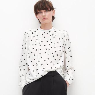 Reserved - Bluzka w groszki LENZING™ ECOVERO™ - Kremowy