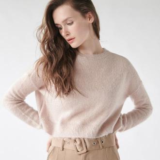 Sinsay - Puszysty sweter z błyszczącą nitką - Beżowy