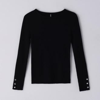 Cropp - Prążkowany sweter z guzikami - Czarny