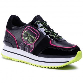 Sneakersy KARL LAGERFELD - KL61930  Black Lthr/Suede W/Pink