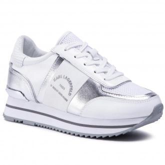 Sneakersy KARL LAGERFELD - KL61941  Silver Lthr/Textile