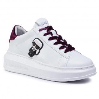 Sneakersy KARL LAGERFELD - KL62528  Wht Lth& Txt W/Burgundy