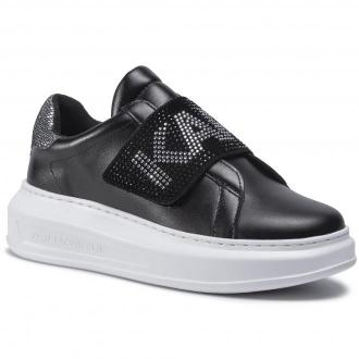 Sneakersy KARL LAGERFELD - KL62536  Black Lthr W/Silver