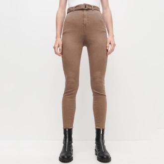 Reserved - Spodnie z wysokim stanem i paskiem - Szary