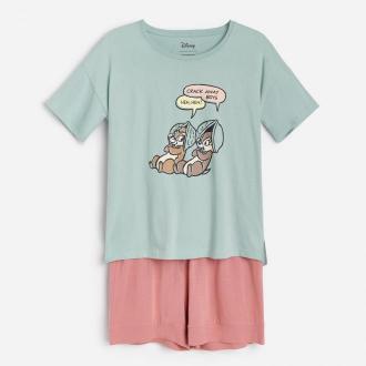 Reserved - Bawełniana piżama Chip i Dale - Zielony