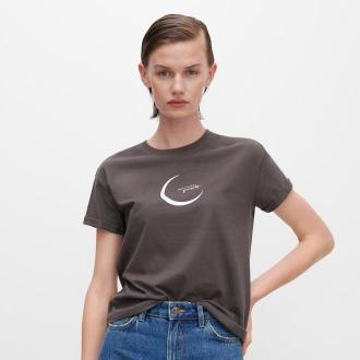 Reserved - T-shirt z błyszczącym nadrukiem - Szary