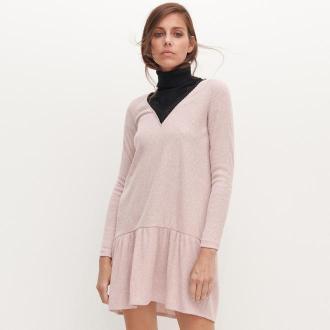 Reserved - Dzaininowa sukienka z koronkowym dekoltem - Różowy