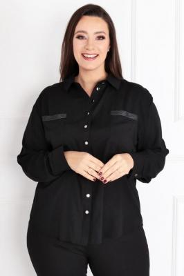 Bluzka koszulowa FLORENCE ozdobne kieszonki czarna
