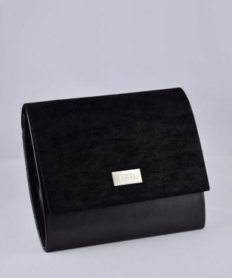 Torebka kopertówka ze złotym zdobieniem KARKO mała zamszowa czarna