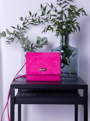 Torebka kopertówka mała zamszowa różowa