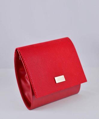 Torebka kopertówka ze złotym zdobieniem KARKO mała z wzorem kratki czerwona