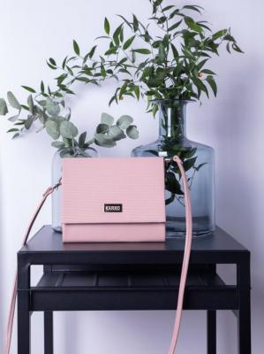 Torebka kopertówka pastelowa mała z wzorem kratki puder róż
