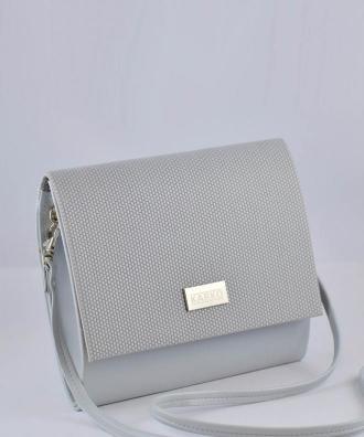 Torebka kopertówka kobieca mała z wzorem kratki szara