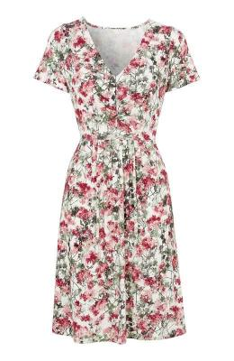 Cellbes Sukienka wkwiaty bia?y we wzory