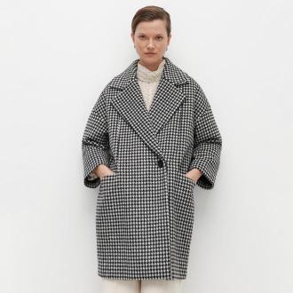 Reserved - Płaszcz w pepitkę z domieszką wełny - Czarny