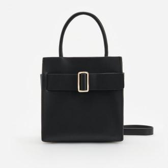 Reserved - Kwadratowa torba z dekoracyjnym paskiem - Czarny