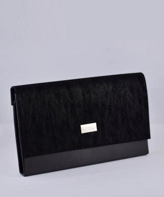 Torebka kopertówka do sukienki duża zamszowa czarna