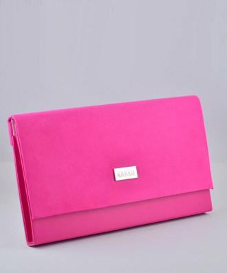 Torebka kopertówka elegancka duża zamszowa różowa