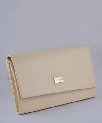 Torebka kopertówka ze złotym zdobieniem KARKO duża matowa beżowa