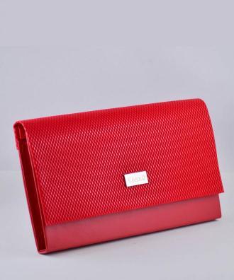 Torebka kopertówka wizytowa duża z wzorem kratki czerwona