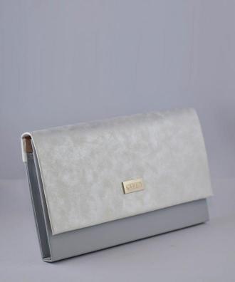 Torebka kopertówka modna elegancka KARKO duża połyskująca srebrna