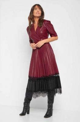Sukienka midi ze sztucznej skóry