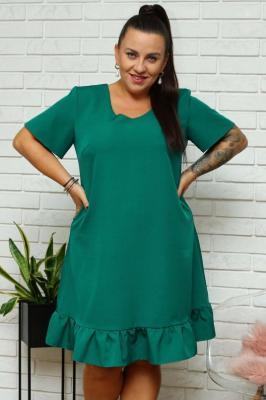Sukienka z falbanką trapezowa MASZA butelkowa zieleń PROMOCJA