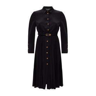 Versace Plisowana sukienka z długimi rękawami Sukienki Czarny Dorośli