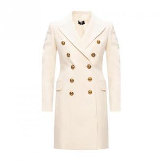 Balmain Wełniany płaszcz z otwartymi klapami Płaszcze Biały Dorośli